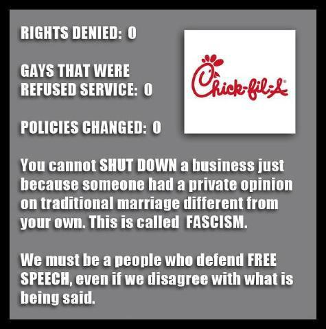 freedom of speech and chik fil a To all those who stood in line last week to get a sandwich for free speech and religious freedom chick-fil-a and the standard of love chik-fil-a showed.